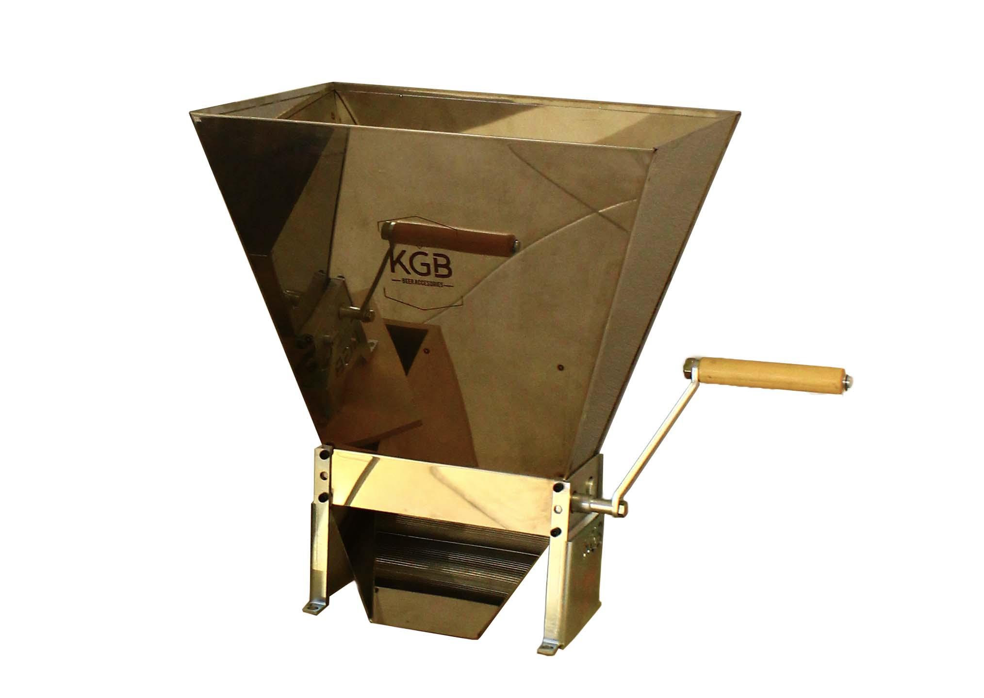 Molino para malta con tolva de 11 kg y caja de embalaje