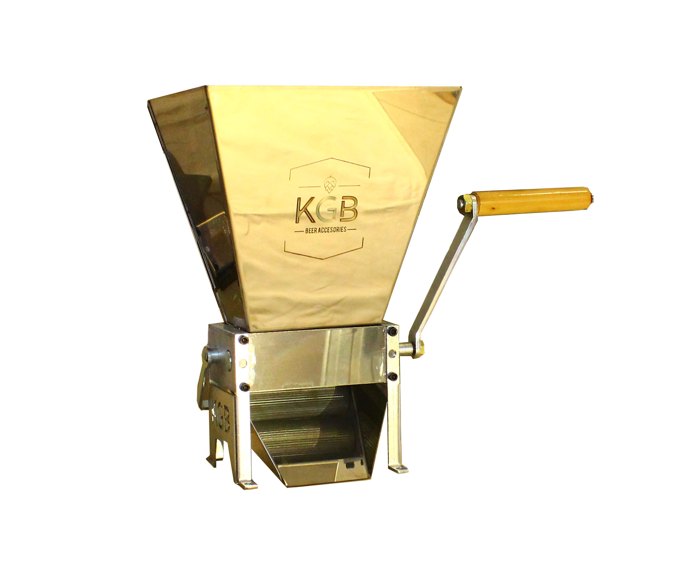 Molino para malta con tolva de 3 kg y caja de embalaje