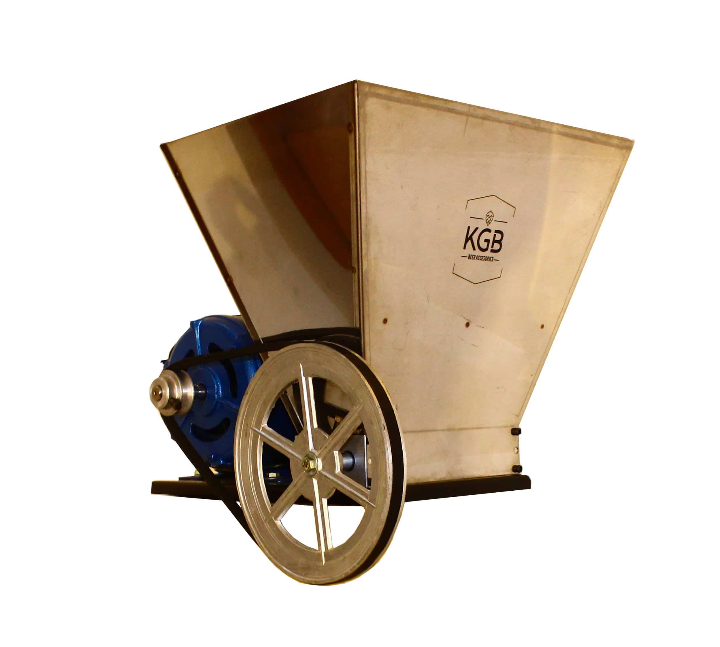 Molino para malta con motor de 3/4 hp y tolva de 11 kg.